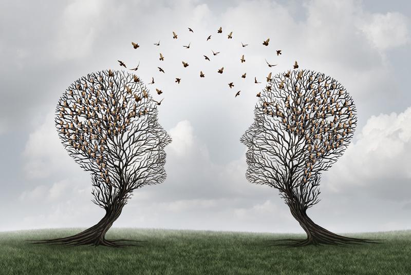 2 trees shaped like heads sharing information