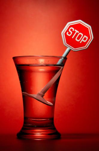 stop sign in some alcohol